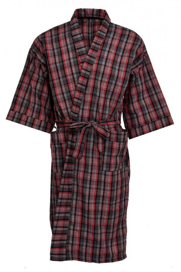 men's poplin robe in red and black