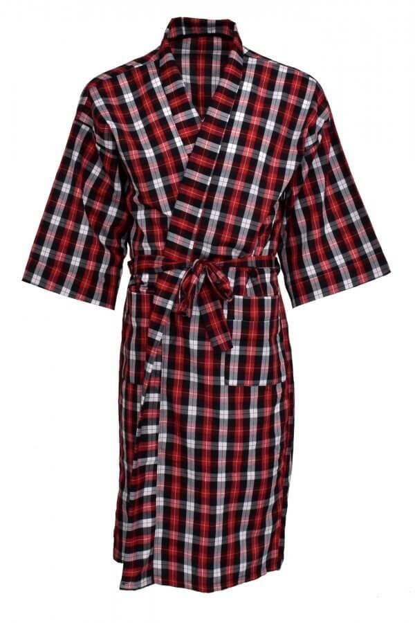 Men's poplin robe in red white pattern