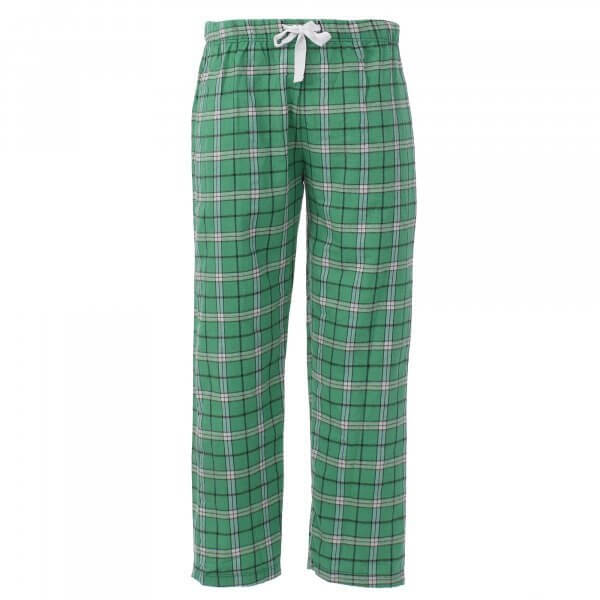 Unisex flannel pants in color green