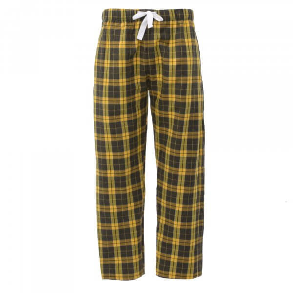 unisex flannel pants in yellow